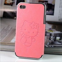 Freeshipping 1PCS Lovely Hello Kitty Cat Quality PU Leather Case Hard Protection Housing Cover Skin for iPhone4 4g 4s