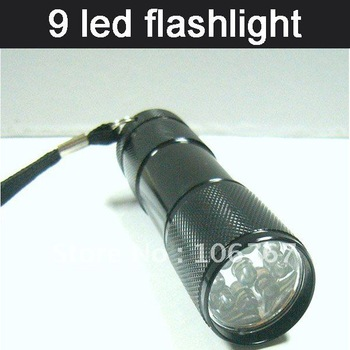 freeshipping factory directly  black colour mini 9 volt battery led flashlight torch aluminium for hike camp walking emergency