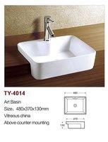 New design bathroom aquare art wash basin,above counter basin,white ceramic art bathroom sinks TY4014