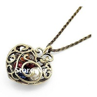 a01320 fashion jewelry hollow heart colorful pearl pendant long alloy sweater chain necklace