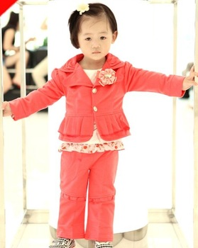 prom baby gilrs pink suits clothing thick coat jacket+shirt+pants trouses cotton children kids outfit 3pcs/set hzxy