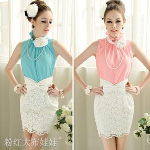flower elegant lotus leaf stand collar sleeveless ladies shirt