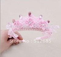 {Min.Order $15} 2013 New Kids/Girl/Princess/Baby Pink Velvet Crown Pearl Ribbon HeadBand/Hair Accessories
