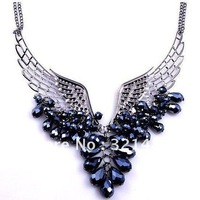 A04329 Angel Wings shining Beaded sweaters chain, Crystal Collarbone Chain necklace jewelry 2012