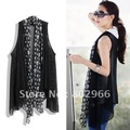 2012 new arrive hot sale wholesale free shipping Women Shawl Collar black blouse fashion skull chiffon neck knit tops YL9637