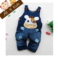 Baby boys & girls jeans material cartoon overall trousers with braces suspender pants with fleece inside Free shipping