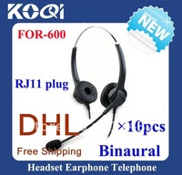 Professional Noise cancelling multi binaural call center headset / telephone headset with RJ11 plug 10pcs/lot free shipping