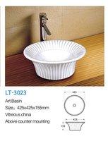 New Fashion bathroom round art wash basin,above counter basin,white ceramic art bathroom basins LT-3023