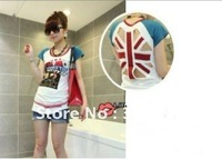 Fashion Cotton  union jack T shirt Summer Short sleeve British/UK flag back hollow Free Shipping 199