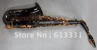 High grade new alto saxophone, black nickel body 18k gold plate key with case