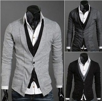 NEW excellent quality, dropship elegant fashion cool false two pieces men's knitwear cardigan sweater