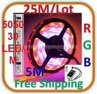 25M/lot Casing Waterproof RGB LED 5050 SMD Rope Light 30 LED/M Length: 5M