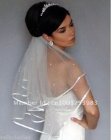 .Wholesale - Simple Hot sale white 2t Wedding Bridal elbow Satin Edge Veil with comb Bridal Accessories