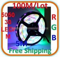 50M/lot Waterproof RGB LED 5050 SMD Colorful Light 30 LED/M Length: 5M
