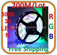 200M/lot Waterproof RGB LED 5050 SMD Colorful Light 30 LED/M Length: 5M