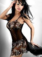 Free shipping! Black Maxime BabyDoll sexy underwear floral sexy lingerie Sleepwear Dress Robe Night Wear  Size M,L,XL,XXL,XXXL