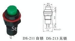 DS-211 Push Button Horn Switch,2A 125V/AC size10,self-locking(China (Mainland))