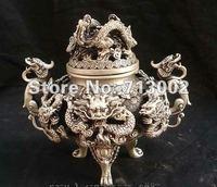 Marked Chinese Dynasty Silver Nine Dragons Statuary Incense Burner Censer