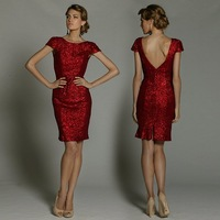 Freeshipping DJ Red Shining Paillettes Backless Short Evening Dress