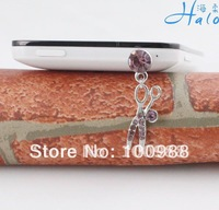IP115 10pcs/Lot  crystal rhinestone cute sissor dust plug