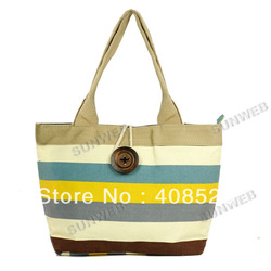 The large capacity chromatic stripe canvas bag Leisure women&#39;s shoulder bag free shipping 5800(China (Mainland))
