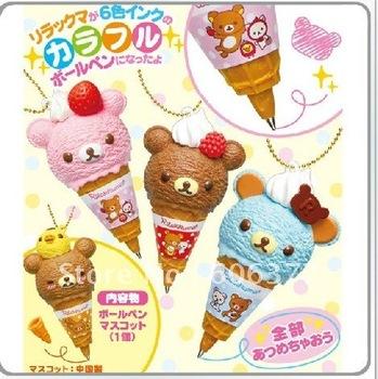 new Kawaii san-x rilakkuma ice cream re-ment ball pen/key charm/bag charm/Ballpoint Pens /gift  free shipping