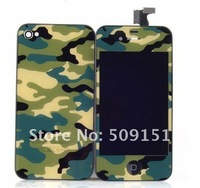 Hot Sale!! Camouflage Front Touch Screen LCD Assembly+back Housing+Button For Iphone 4S Free Shipping