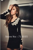 Min.order is $15 Free shipping! 2012 New nightclub V-neck  women's sexy lace tight-hip mini dress T150
