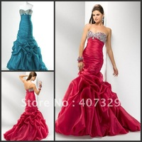 Wholesale Price New Arrival Lace Up Sweetheart Floor Length Custom Made Beadings Mermaid Prom Dress/Evening Dress/Party Dress