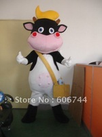 Top Selling Free Shipping Adult Black Cow Cattle Cartoon Mascot Costumes Cosplay Carnival Halloween Costumes Fancy Dress Suit