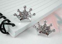 Free Shipping Cute Ear Studs Brand Ear Nails Silver Crown Earring Gift Package #JCE016-Silver