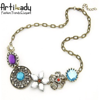 Artilady  lovely multi color crystal chains necklaces gold engagement jewelry chains necklaces