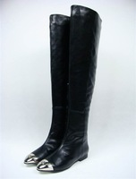 free shipping Womens brand real leather black colos dress metal toe over knee boots,ladies boots