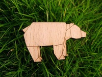 laser cut and engrave rhino wooden brooch