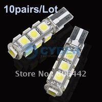 Wholesale 10pairs/Lot New 2 x SMD 5050 T10 13 LEDs Light Car Bulb LED Interior Canbus Error Free White free shipping