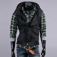& Розничные Корея Мужская slim fit костюм жилет новые моды платье жилет куртка хаки/черный & падение корабль предложение qy630