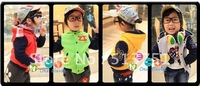 2012 autumn outfit new male children's clothing female han joining together baby long sleeve cap on children's clothes