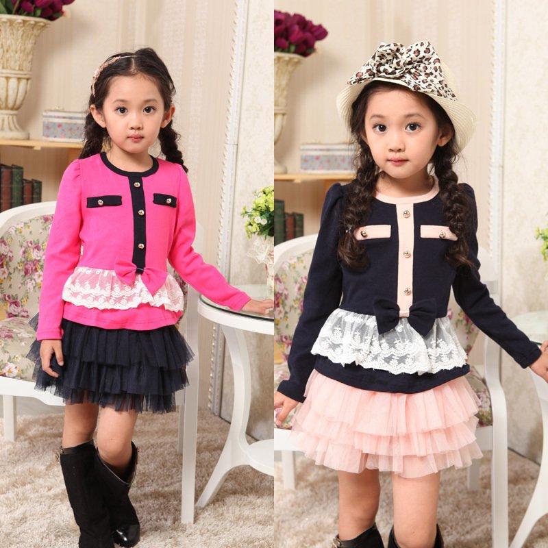 children girls tulle autumn dress set  kids lace coat+skirt  princess dress autumn fashion cloth ... accept paypal