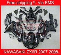 EMS Free Shipp KAWASAKI ZX6R 07 08 ZX-6R 2007-2008 6R 07 08 ZX 6R 2007 2008 Black Full Fairing 2060
