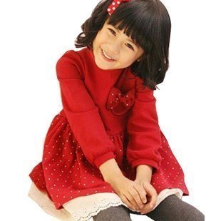 Female child children's clothing autumn and winter one-piece dress baby child princess dress christmas red long-sleeve
