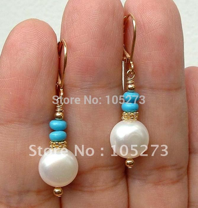 Stunning Top Quality White Freshwater Pearl & Turquoise Gold Earring 14K-20 Gold Lever Backs Wholesale New Free Shipping(China (Mainland))