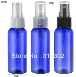 Free shipping-50ml blue plastic bottle,mist sprayer,perfume sprayer.crimp pump,atomizer,perfume package(China (Mainland))