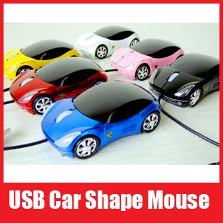 Wholesale Wired Car Shape USB 3D Optical Mouse Mice for Computer Laptop Free Shipping