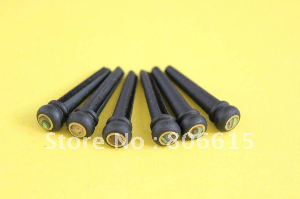 6pcs H-06 EBONY GUITAR BRIDGE PINS With PEARL Shell Dot(China (Mainland))