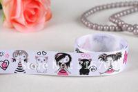 party-ribbon wholesale free shipping 22mm  girl cat grosgrain ribbon cartoon printed ribbon white 50yards