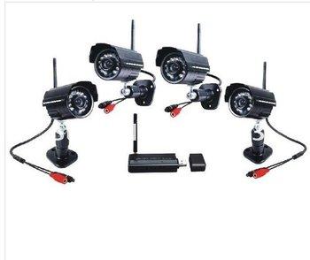 Free Shipping!!Digital 2.4Ghz Wireless 4 Night Vision waterproof Camera Security CCTV System DVR Kit