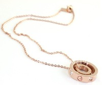 Women necklaceDouble Loop  Rose Gold Plated Titanium 12pcs/lot free shipping