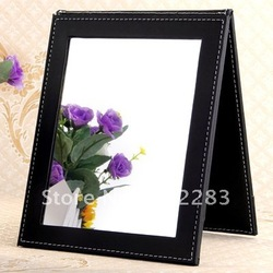 Free Shipping Black Folding Leather Table Traveling Makeup Mirror(China (Mainland))