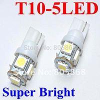 free shipping wholesale 50pcs car LED Lamp T10 W5W 194 5050 SMD 5 LED White  Light Bulbs