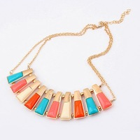 Fashion Necklace 6pcs/lot,XSJ-91509,   Europe and the United States exaggerated fashion color trend  short necklace
